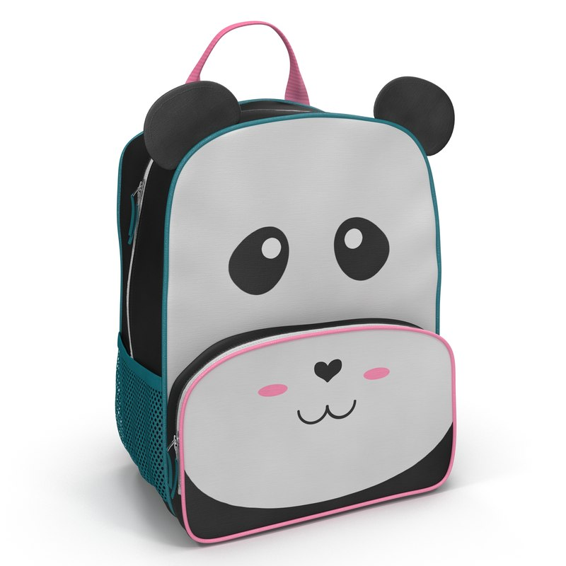 3d model kid backpack panda