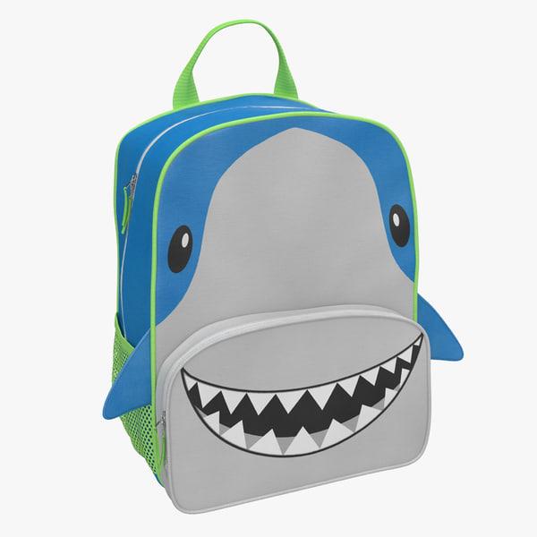 3d model kid backpack shark