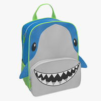 3d model kid backpack shark