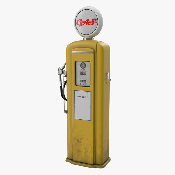 3d retro gas pump yellow model