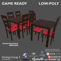 dining group 3 3d 3ds