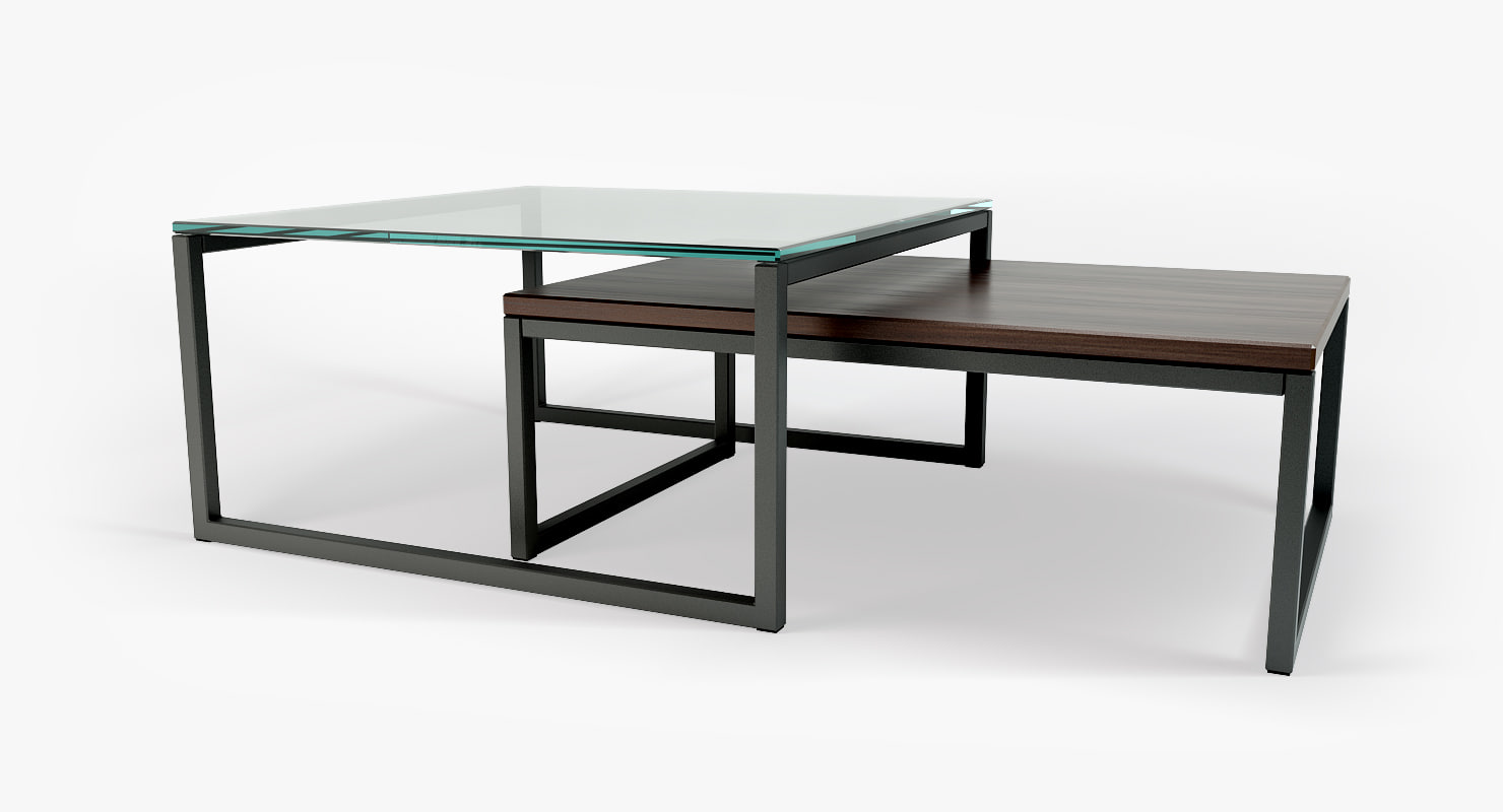 3d model coffeetable - glass wood