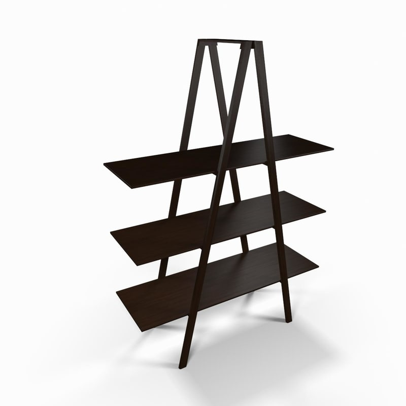 wooden designer shelf 3d model