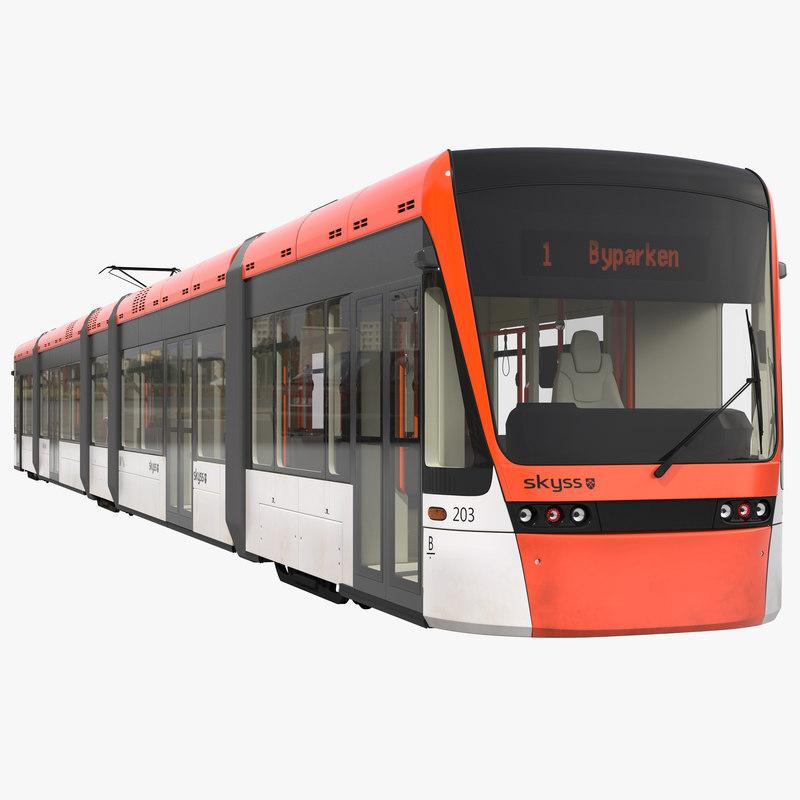 3d model light rail train bybanen