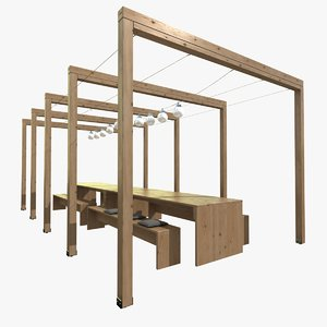 pergola wooden table bench max