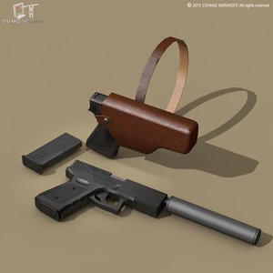 3dsmax generic 9mm handgun