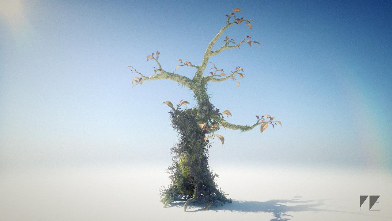 3d model whimsical fantasy tree leaves