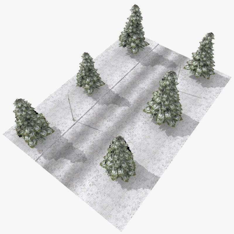 3d tileable winter street scene
