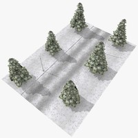 3d tileable winter street scene