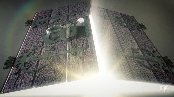 whimsical fantasy trap door lock 3d obj