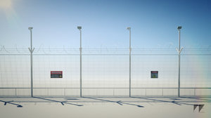 3d razor wire security fence model