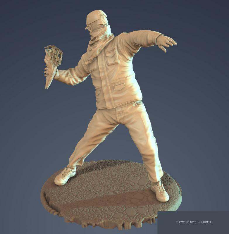sculpture bansky rioter 3d max
