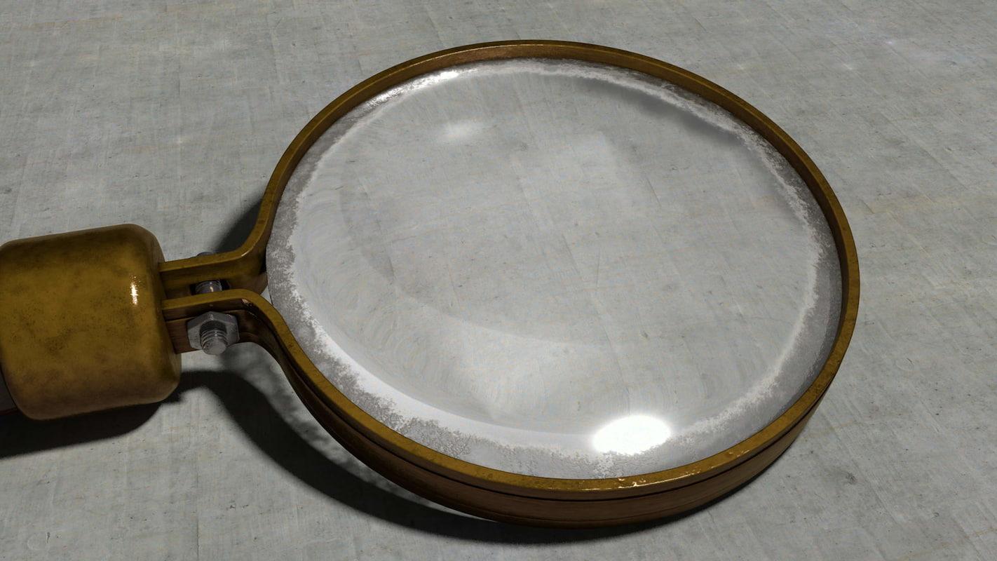 old vintage magnification glass 3d model