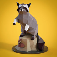 Low poly Racoon figurine