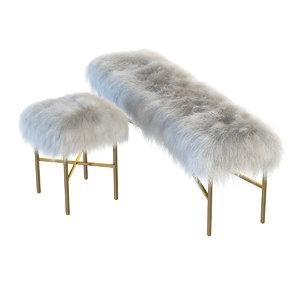 max mongolian lamb chair bench