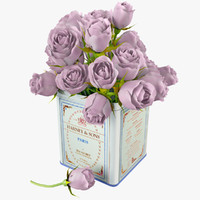 Bouquet of Pink Roses in Tin
