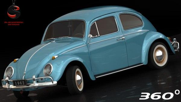 3d volkswagen beetle 1962 interior model