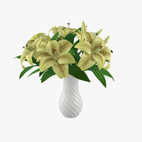 3d model yellow lilies bouquet