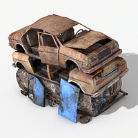 destroyed cars 3d c4d