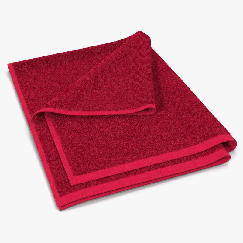 3d towel 4 red fur model
