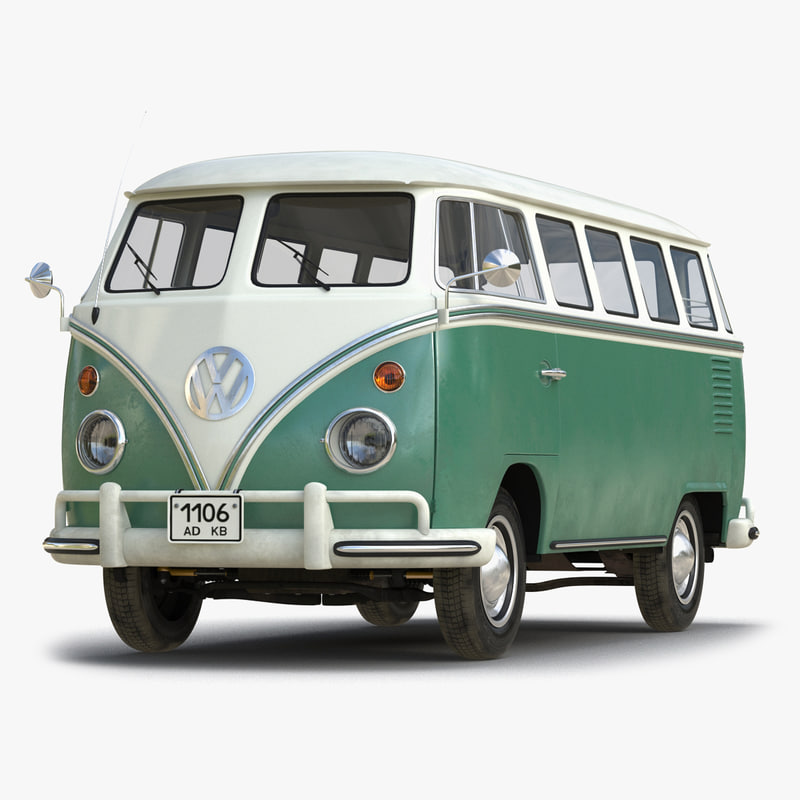 3d volkswagen type 2 green model