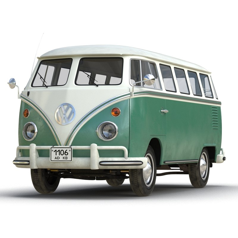 3d volkswagen type 2 green model