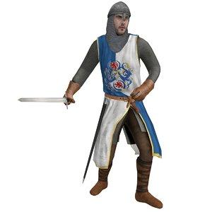 rigged medieval knight 3d model