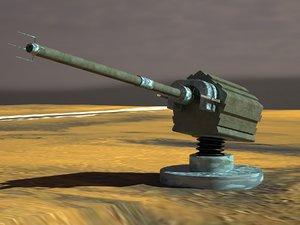 3d model of artillery cannon