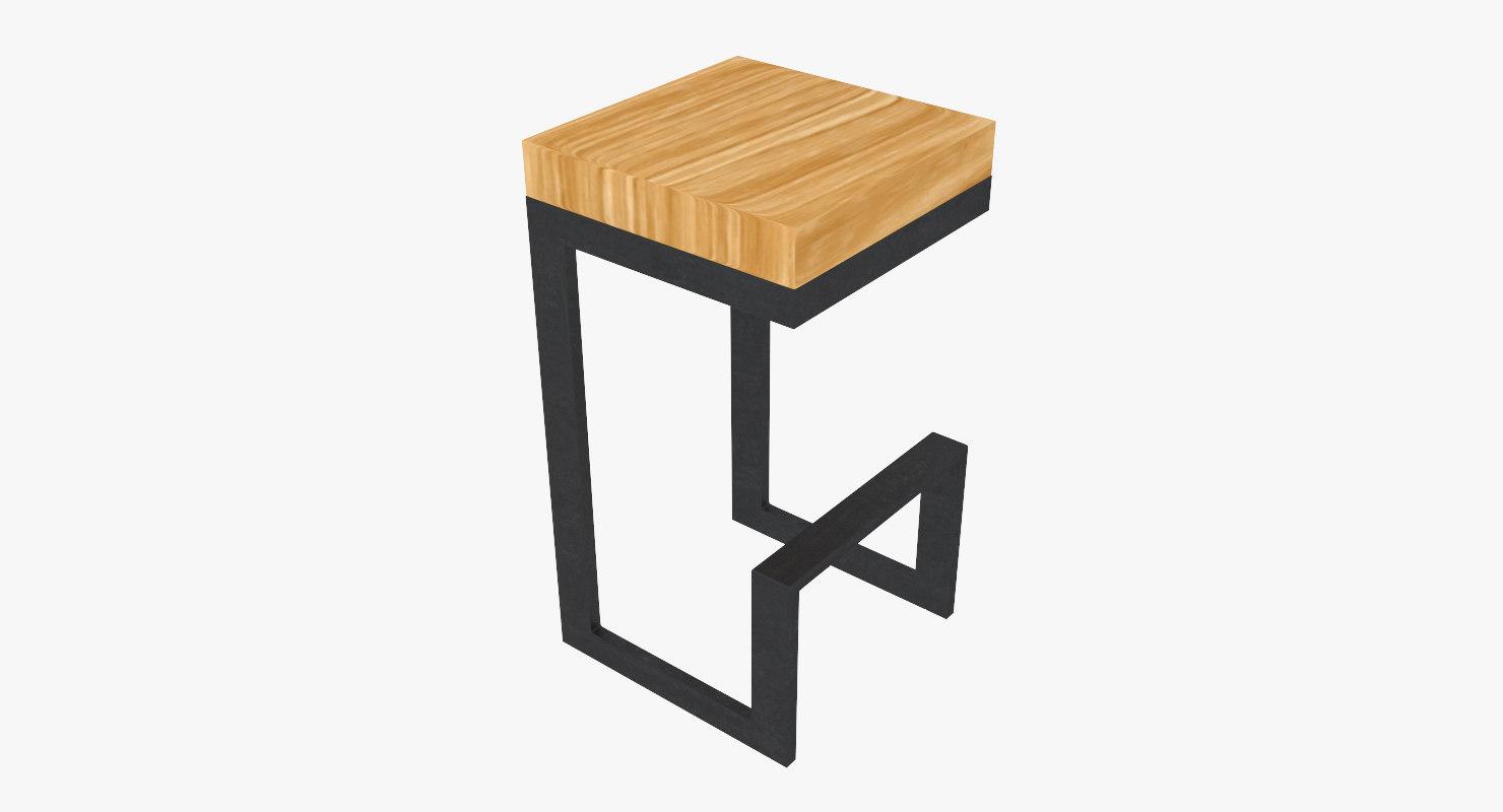 max wood steel stool