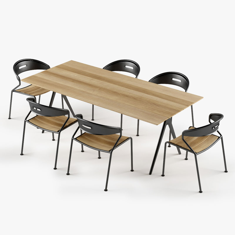 3d set table curve dining chair model