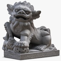 3d lucky dog thai sculpture model