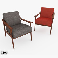 3d model of handcrafted armchair upholstery wood frame