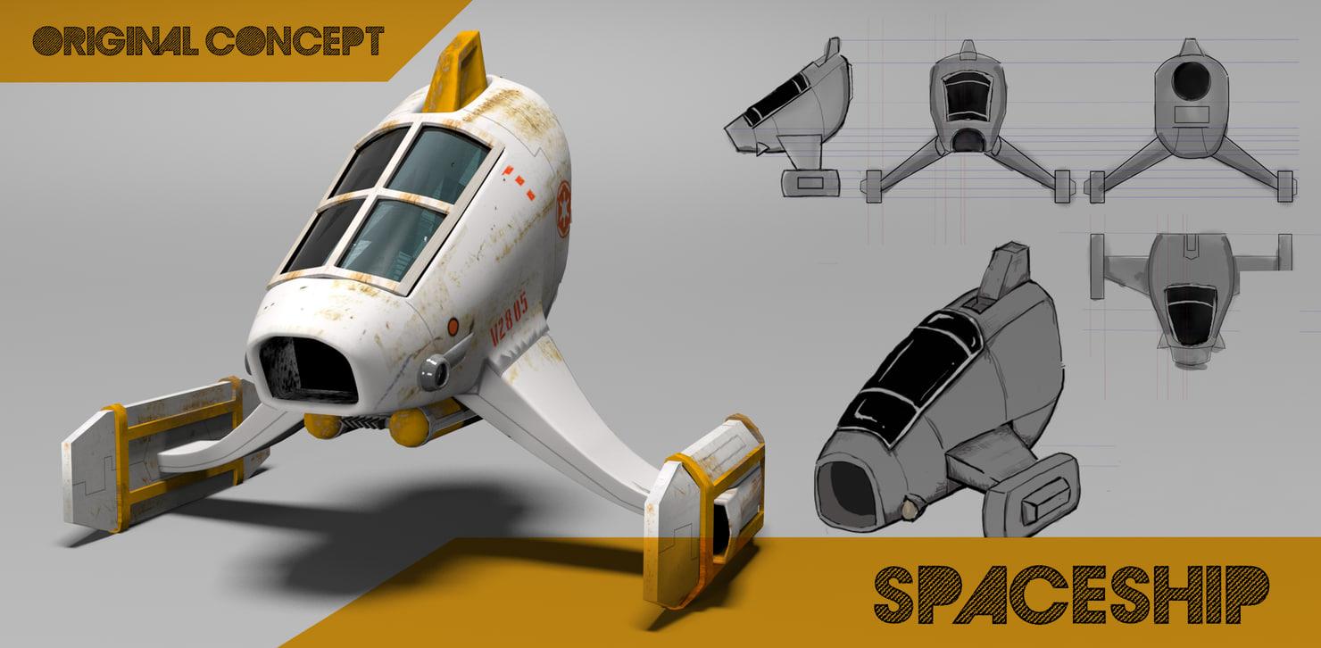 3d 3ds scifi spaceship