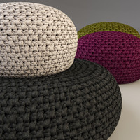 knitted fabric pouf G