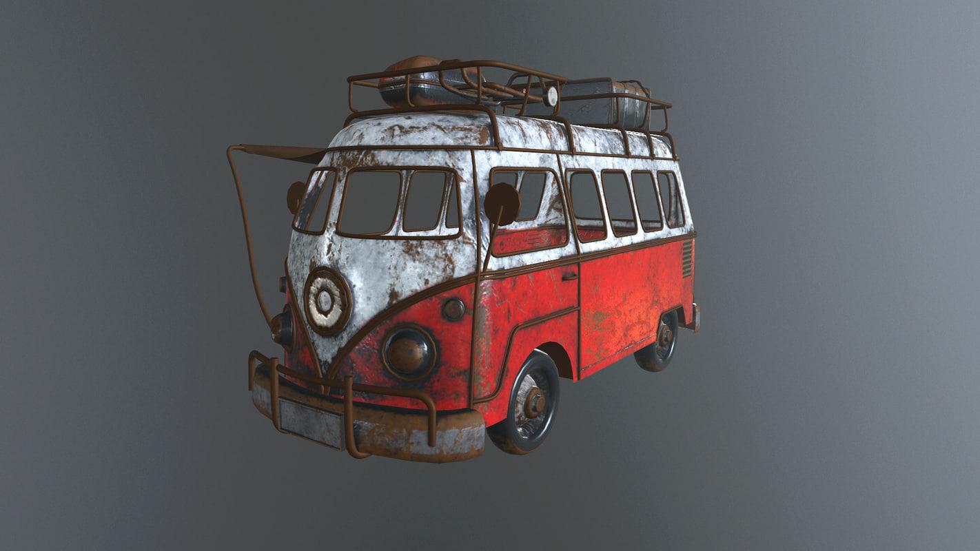 handmade toy volkswagen camper 3d model