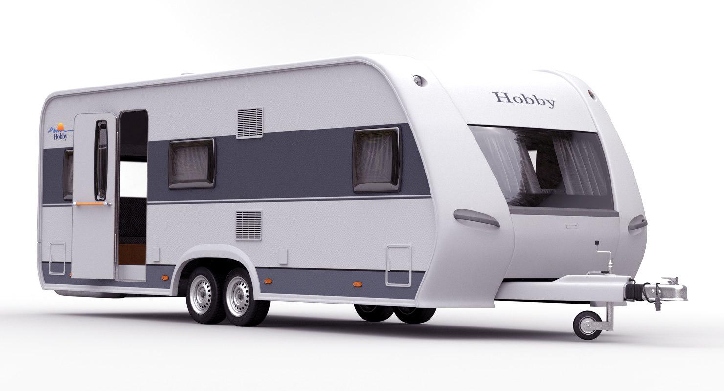 hobby caravan prestige rigged 3d model