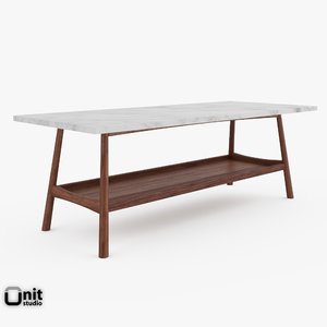 3d handcrafted mid-century rectangular coffee table