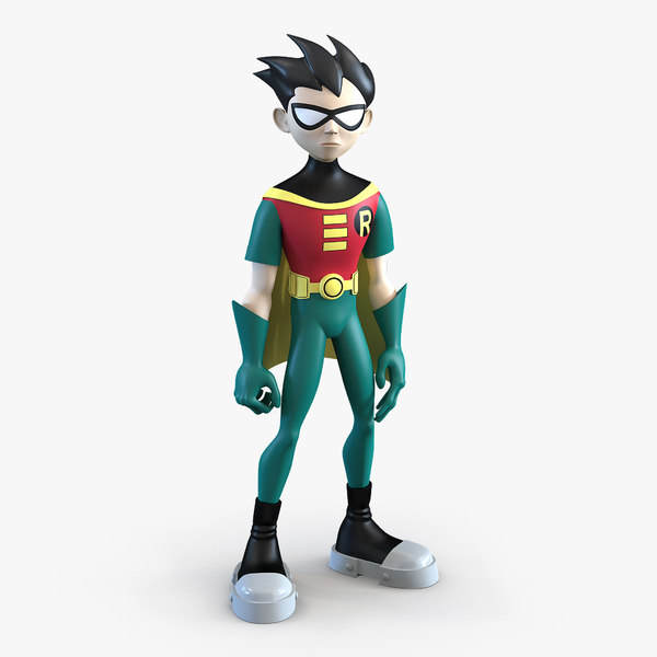 robin cartoon character rigged 3d model