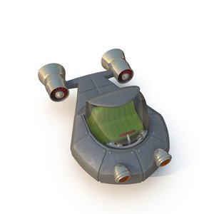 3d model cartoon rocket ship