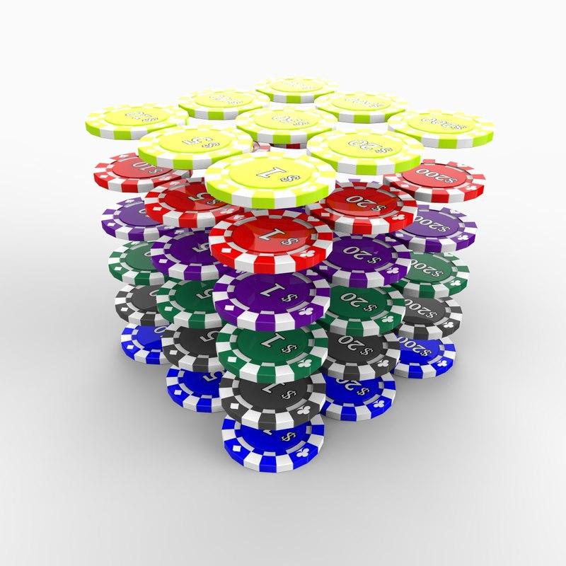 3d model casino tokens