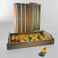 Bright pears in wooden box