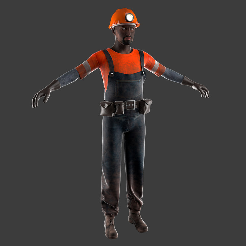 3d model miner worker helmet