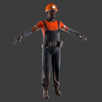 3d model miner worker helmet