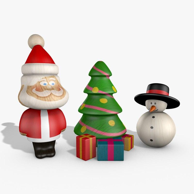 c4d toy wooden santa snowman