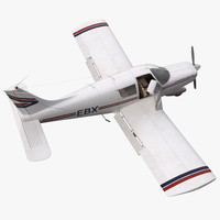 Light Aircraft Piper PA-28 Cherokee Rigged 3D Model