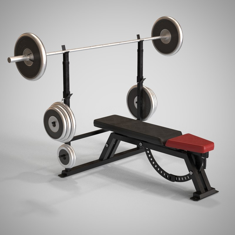 exercise bench 3d model