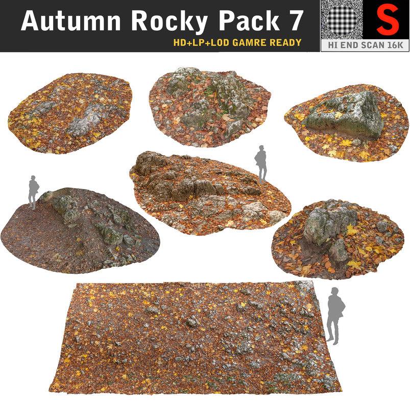 autumn rocky pack 7 3d obj