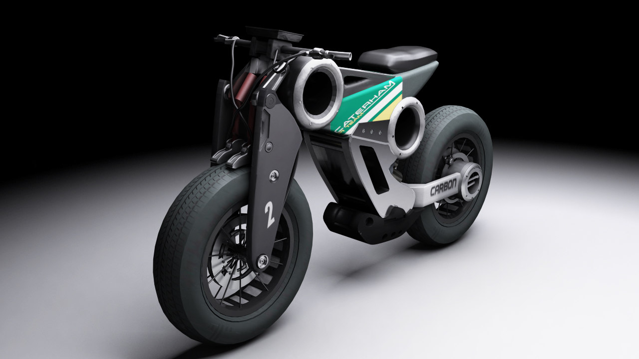 3d model of futuristic motorcycle