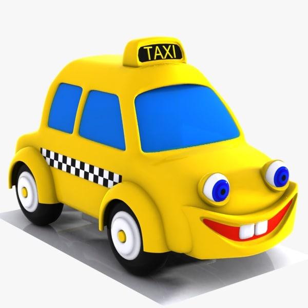 3d model of taxi character car