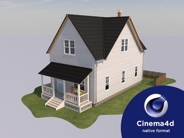 cinema4d house american style